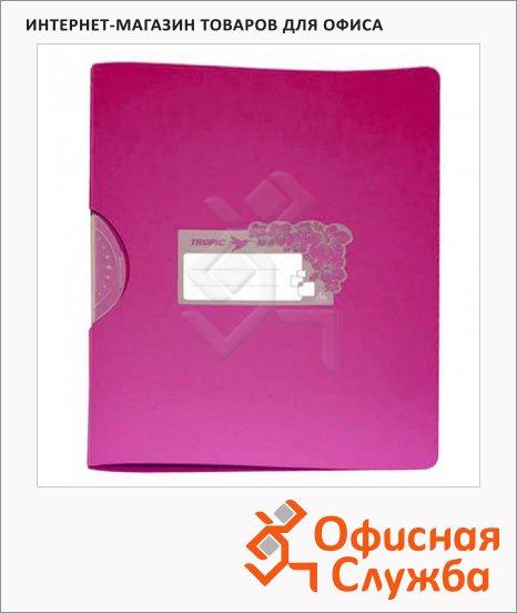 Пластиковая папка с клипом Бюрократ Tropic розовая, А4, до 30 листов, TR550pink/816908