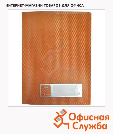 Пластиковая папка с зажимом Бюрократ Crystal оранжевая, А4, CR05COR
