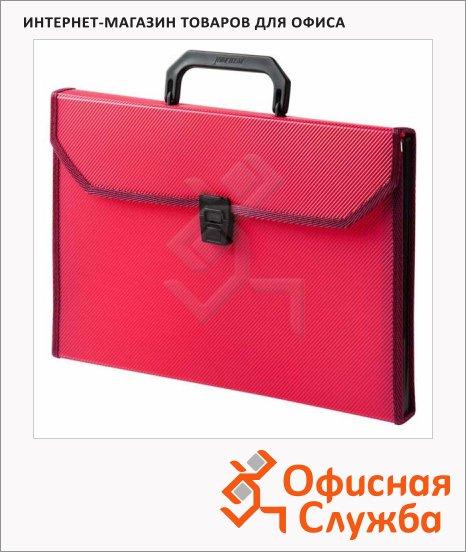 фото: Портфель пластиковый Бюрократ красный А4, 24 отделения, PP24TLred