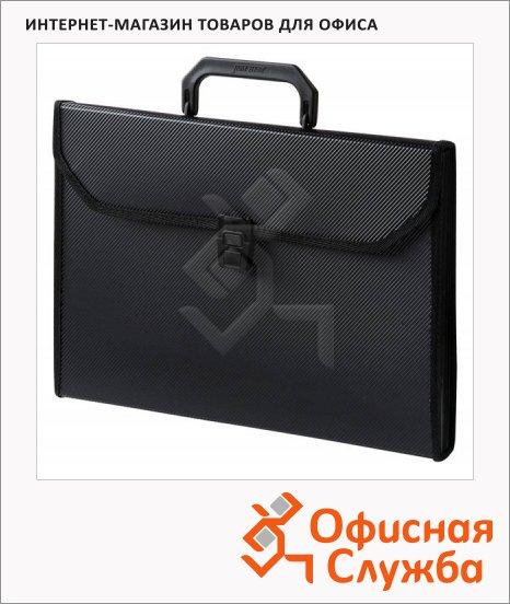 Портфель пластиковый Бюрократ черный, А4, 24 отделения, PP24TLblck