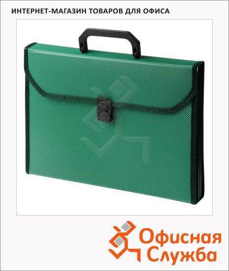 Портфель пластиковый Бюрократ зеленый, А4, 24 отделения, PP6TLgrn