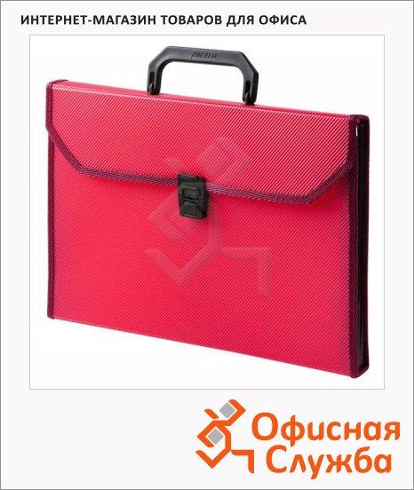 Портфель пластиковый Бюрократ красный, А4, 24 отделения, PP6TLred