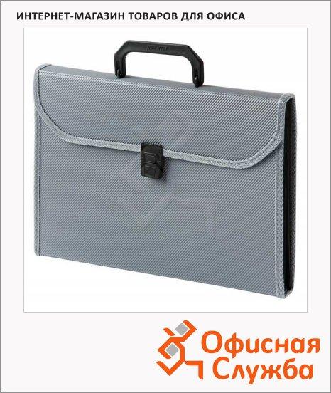 фото: Портфель пластиковый Бюрократ серый А4, 24 отделения, PP6TLgrey