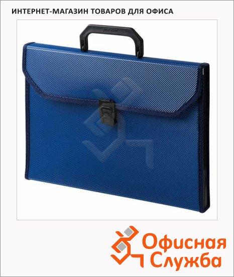 Портфель пластиковый Бюрократ синий, А4, 24 отделения, PP6TLblue