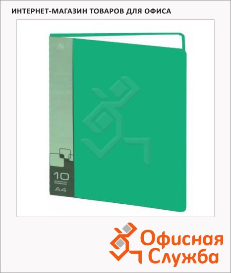 фото: Папка файловая Бюрократ зеленая на 10 файлов, А4, BPV10GRN