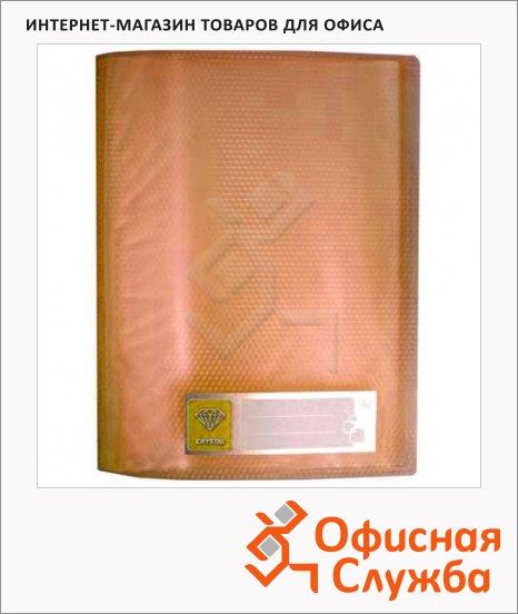 Папка файловая Бюрократ Crystal оранжевая, А4, на 60 файлов, CR60OR
