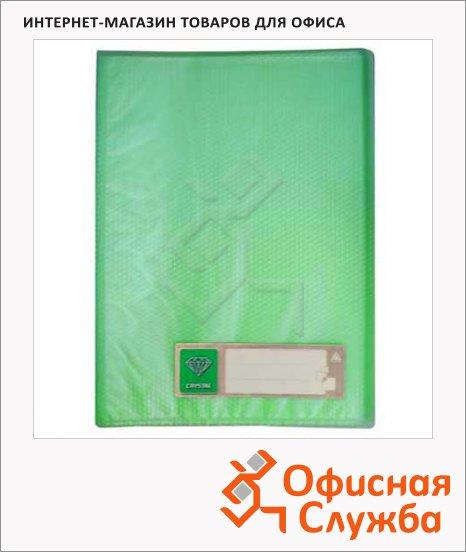 Папка файловая Бюрократ Crystal зеленая, А4, на 80 файлов, CR80GRN