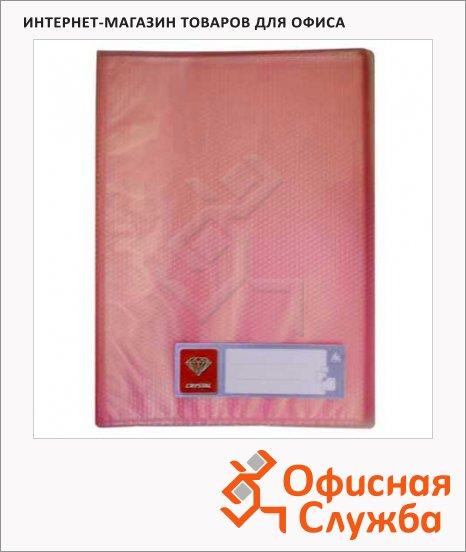 Папка файловая Бюрократ Crystal красная, А4, на 80 файлов, CR80RED