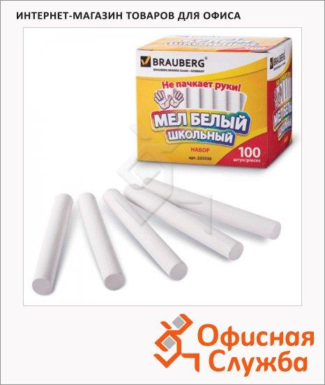 Мелки школьные Brauberg Антипыль белые, круглые, 100шт