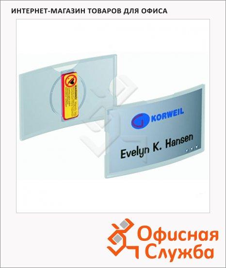 Бейдж магнитный D-образный Durable 8123-19, 40х75 мм, 25 шт/уп