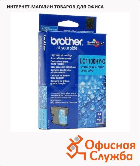 Картридж струйный Brother LC1100HBK/HYY/HYM/HYC/BK/Y/M/C LC1100HYC, голубой повышенной ёмкости