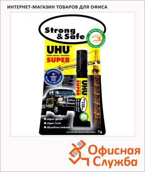 Клей универсальный Uhu Super Strong & Safee контактный, секундный, 7г