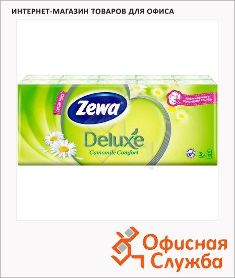 Носовые платки Zewa Deluxe 10уп х 10шт, 3 слоя, с ароматом ромашки
