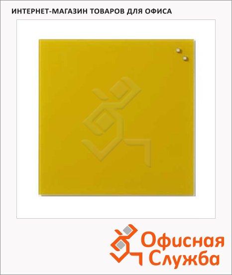 Доска магнитная маркерная стеклянная Naga 10773 45х45см, ретро-желтая