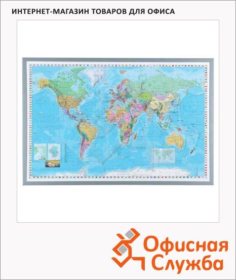 Доска пробковая Naga Карта мира 80 х 55 см, белая