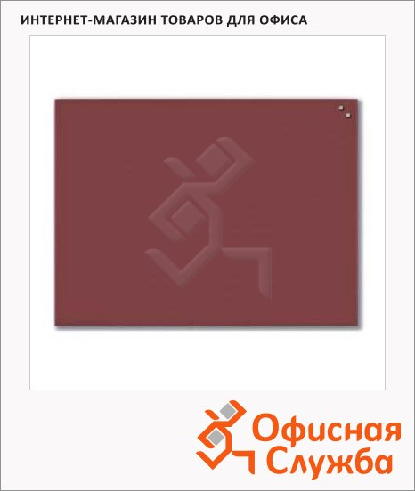 Доска магнитная маркерная стеклянная Naga 10360 80х60см, красная