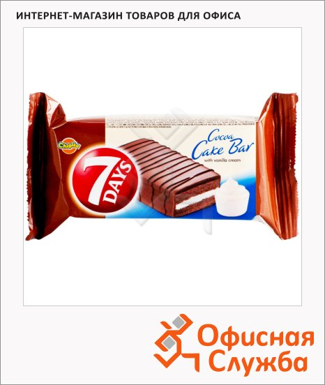 Бисквит 7 Days Cocoa Cake Bar с ванильным кремом, 35г