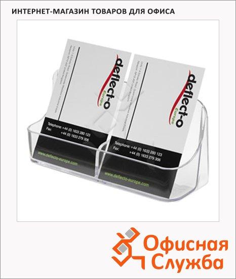 фото: Подставка для визитных карточек 2 отделения 124х41х57 мм, прозрачная