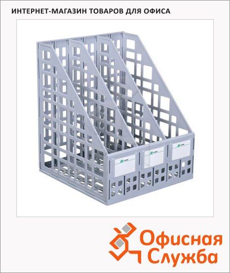 фото: Накопитель вертикальный для бумаг Стамм А4 3 секции, 240мм, серый, ЛТ80