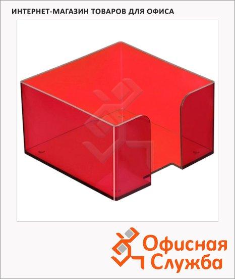 Подставка для бумажного блока Стамм ПЛ52 вишня, 9.5х9.5х5.2см, пластик, тонированная