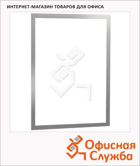 Настенная магнитная рамка Durable Duraframe А3, серебристая, самоклеящаяся, 2шт, 4873-23
