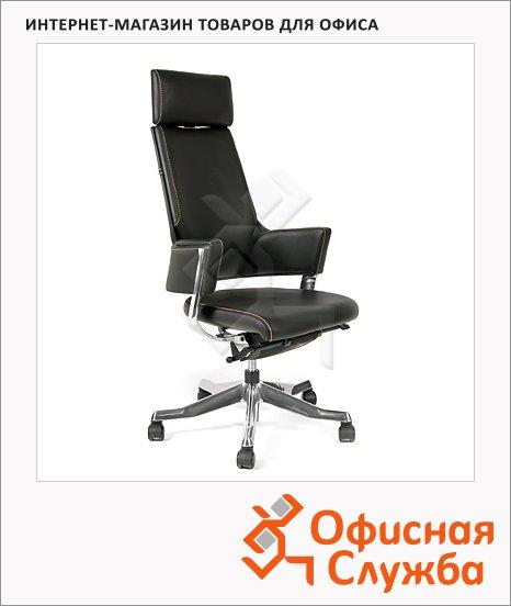 Кресло руководителя Chairman 260 нат. кожа, черная, комбинированная с искусственной кожей, крестовина хром