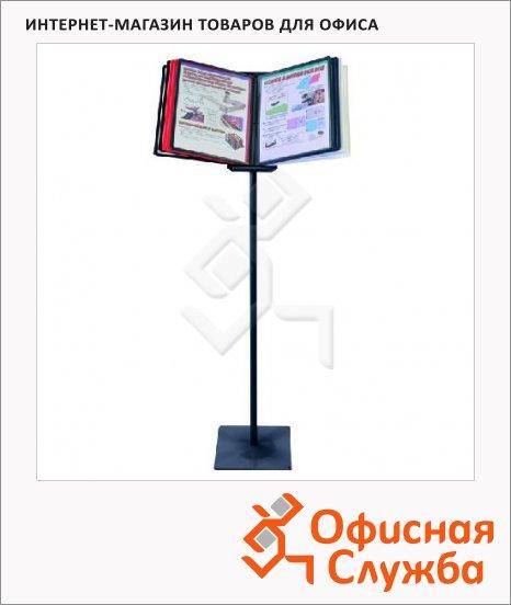 Демосистема напольная Office Force поворотная на 90 градусов, 10 панелей, А4, ассорти