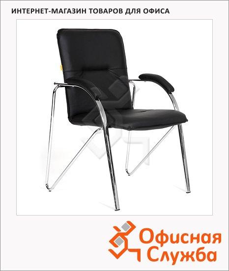 Кресло посетителя Chairman 850 иск. кожа, на ножках, собр., черная, terra 118
