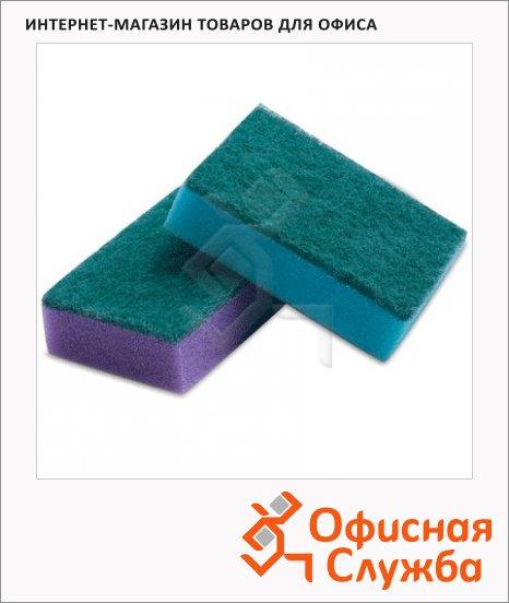 Губка для мытья посуды Лайма Maxi поролоновые с абразивным слоем, 2.7х9.6х6.4см, ассорти, 10шт/уп