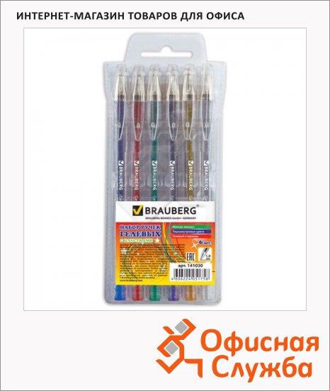 Набор ручек гелевых Brauberg Zero Kids 6 цветов, 1мм, 6шт/уп, с блестками