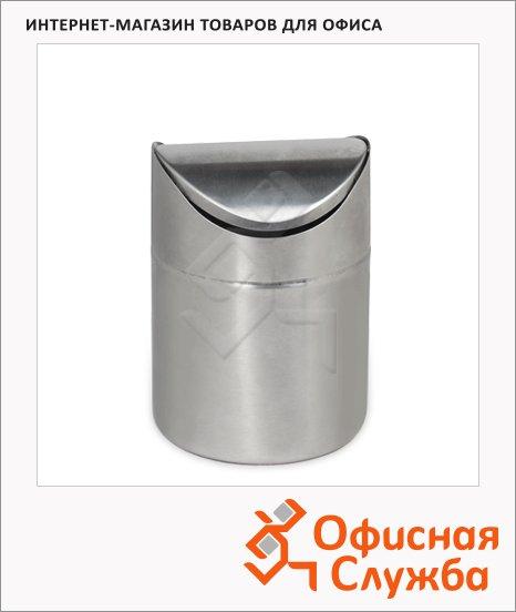 фото: Контейнер для мусора Лайма 1.2л матовый металлик, с качающейся крышкой, настольный, 601618