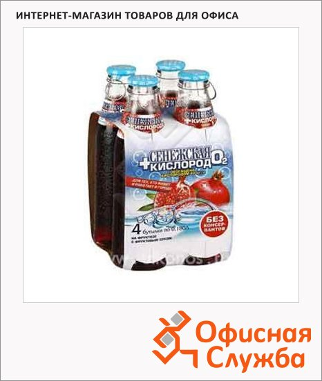 Вода питьевая Сенежская С кислородом без газа, 0.18л х 4шт, стекло, гранат