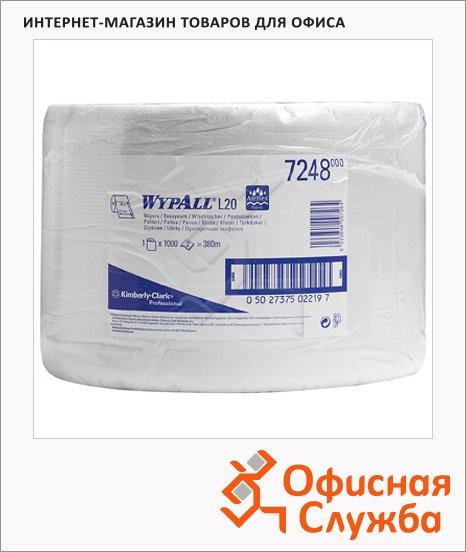 Протирочные салфетки Kimberly-Clark WypAll L20 7248, в рулоне, 1000шт, 2 слоя, белые