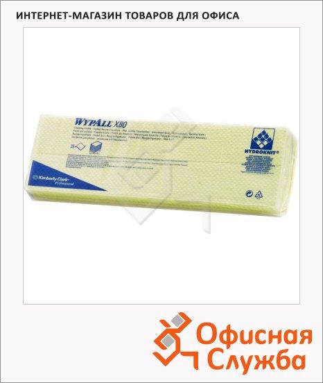 Протирочные салфетки Kimberly-Clark WypAll Х80 7567, листовые, 25шт, 1 слой, желтые