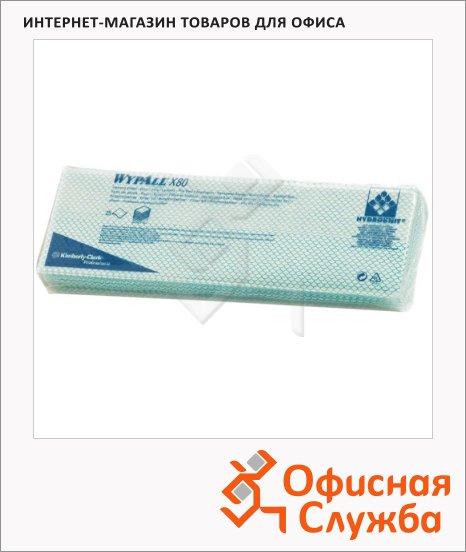 Протирочные салфетки Kimberly-Clark WypAll Х80 7566, листовые, 25шт, 1 слой, зеленые