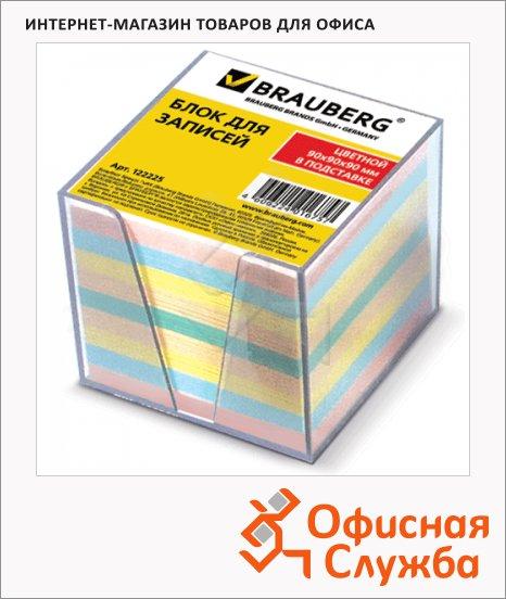 фото: Блок для записей непроклеенный в подставке Brauberg цветной в прозрачном боксе 90х90мм