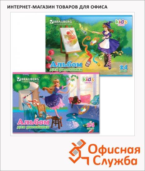 Альбом для рисования Brauberg Kids Series Чародейка, А4, 100 г/м2, 24 листа, на скрепке