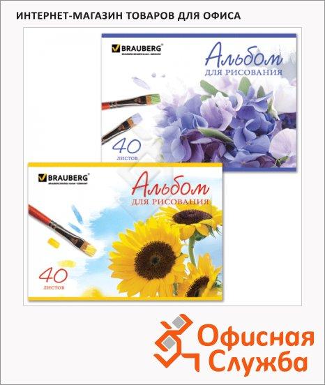 Альбом для рисования Brauberg Цветы, А4, 100 г/м2, 40 листов, на скрепке