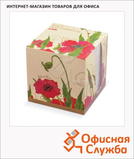 фото: Блок для записей непроклеенный в подставке Hatber Red on White белый в цветном боксе 90х90мм