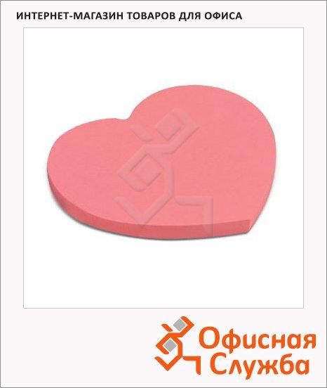 Блок для записей с клейким краем Brauberg Сердце розовый, неон, фигурный, 50 листов