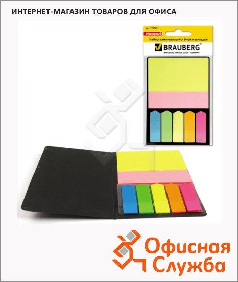 фото: Блок для записей с клейким краем Brauberg неон 2цвета по 40листов, набор с закладками