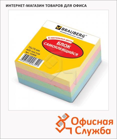 Блок для записей с клейким краем Brauberg 4 цвета, пастельный, 76х76мм, 400 листов