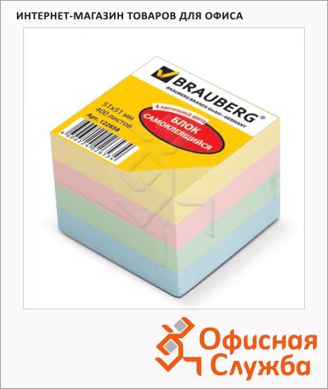 Блок для записей с клейким краем Brauberg 4 цвета, 51x51мм, 400 листов, пастельный