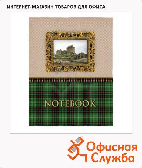 Блокнот Brauberg Шотландка, А6, 80 листов, в клетку, на сшивке, ламинированный картон/ лак