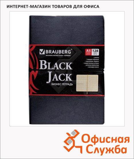фото: Тетрадь Brauberg Black Jack A5, 128 листов, в клетку, на сшивке, искусственная кожа
