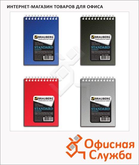 Блокнот Brauberg Standard, 60 листов, в линейку, на спирали, мелованный картон/ пластик, А6, ассорти