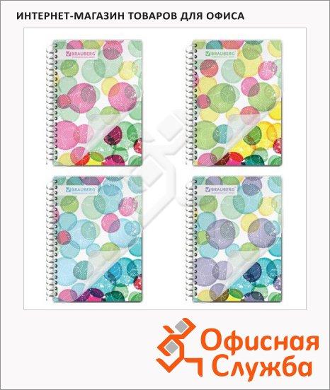 Блокнот Brauberg Абстракция, А6, 80 листов, в клетку, на спирали, пластик, ассорти 4 вида