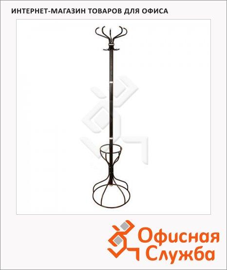 фото: Вешалка-стойка напольная Титан Ажур-3Ф черная, 5 крючков, место для зонтов, 1800мм