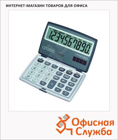 Калькулятор карманный Citizen CTC-110WB серебристый, 10 разрядов