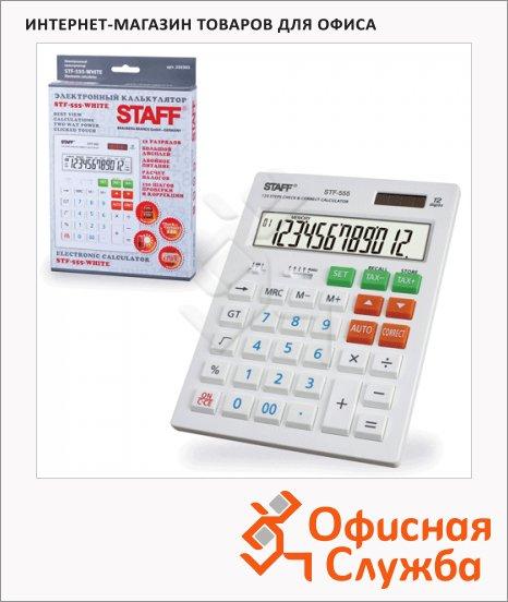 Калькулятор настольный Staff STF-555 белый, 12 разрядов